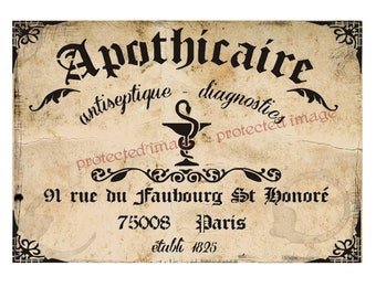 Large Primitive Vintage Style Apothecary Sign Labels   * Instant Download   #551