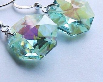 Antik grün Achteck Swarovski Kristall Ohrringe, grünen Kristall Ohrringe, Wedding, Bridal, Brautjungfern