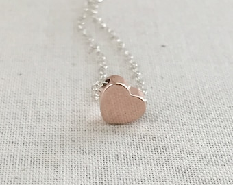 Rose Gold Heart Necklace, Heart Charm Necklace,  Sterling Silver Chain, Dainty Necklace, Best Friends Gift, Stocking Stuffers