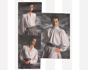 1980s Blouse Vintage Vogue Designer Sewing Pattern 1913 Oscar De La Renta Bust 34-36-38 Mock Wrap Bias or Notched Collar