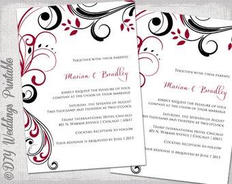 Wedding Invitation Templates Purple And Pink - Wedding invitation templates: red wedding invitation templates