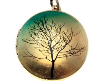 Photo Locket, Image Locket, Art Locket, Picture Locket, Brass Locket - Solitary Tree