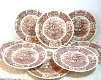 Alfred Meakin Brown Fair Winds Dinner Plates, Set of Eight