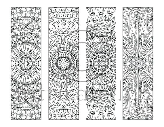 4 Mandala Colouring Bookmarks Set 7 Instant Download