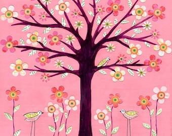 Pink Bird Tree Painting,  Children Decor, Baby Girl Nursery Decor, Children Wall Art