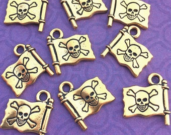 1 Pirate Flag Charm, Antique Gold Tone, TierraCast Jolly Roger with Skull and Crossbones, About 16mm x 14mm
