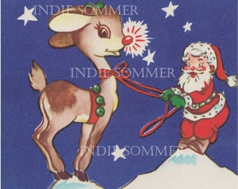 Digital download, Vintage Christmas Greeting Card, Santa, Rudolph The Red Nosed Reindeer, Digital Down load Image!