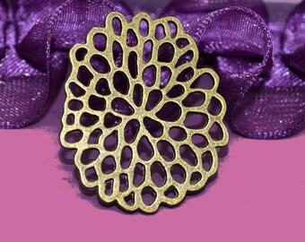 4 beautiful prints flower 31x26x1mm color bronze