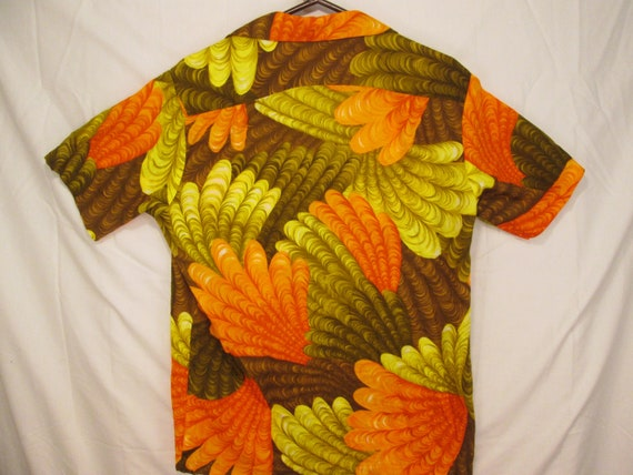 circa Diamond Kauai collar orange head fan feathered vintage pocket HOLO brown S shirt size matched Hawaiian 60s green HOLO brilliant loop 1x884qdw