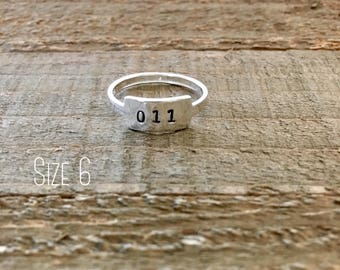 Stranger Things ring-Sterling silver ring-Eleven ring-011 ring-handstamped ring-gift