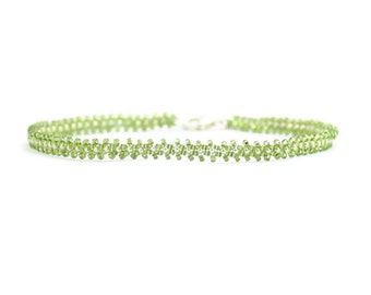 Green Anklet - Chain Ankle Bracelet - Beaded Anklet - Foot Jewelry - Seed Bead Anklet - Summer Jewelry - Beach Anklet