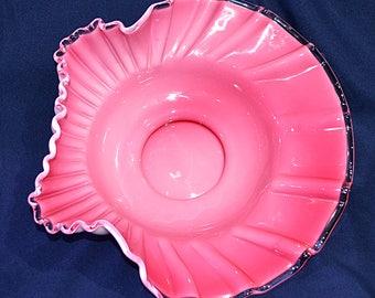 Fenton Cased Glass Bowl, Fenton Pink and White Ruffled Edge Bowl