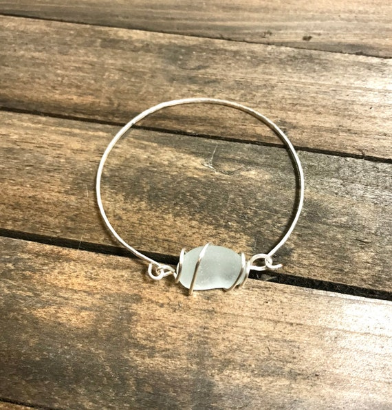 Clear/white frosted sea glass hammered bangle-silver filled