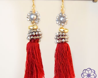 Handmade earrings with tassels