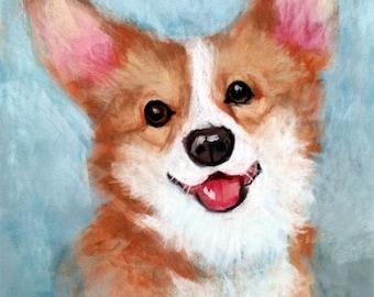 Custom pet portrait , pastel dog painting , corgi portrait , pet painting , custom dog pastel , dog portrait , pastel drawing