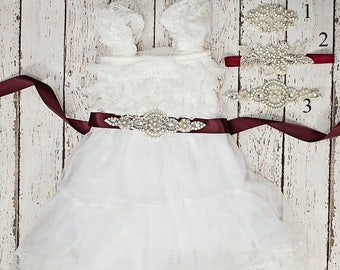 Rustic Lace Flower Girl Dress, Flower Girl Dress, White Lace Dress, baby lace dress, Flower Girl Dresses, Toddler Dresses, Country Dress