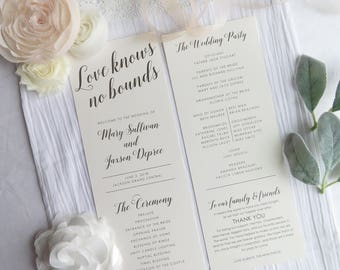 Wedding Programs    Ceremony program    Double Sided Programs - Style P117- LOVE KNOWS COLLECTION