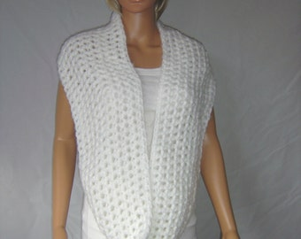 Crochet ladies white fluffy large cowl