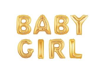 Baby Girl Letter Balloons, Baby Girl Gender Reveal, Gold Letter Balloons, Gold Baby Girl Shower, Girl Gender Reveal, Baby Girl Shower Decor