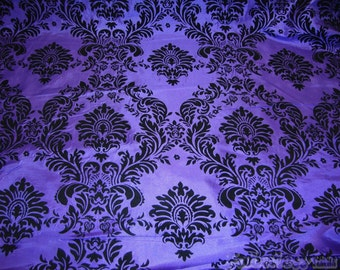 Purple Taffeta Black Flocking Damask fabric per yard