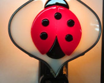 Ladybug x3 Night lights - Ladybugs on Leaf Night light - Stained Glass Night Light - Ladybug Nightlight