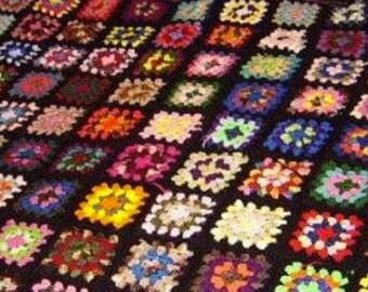 Vintage Style Black Trim Granny Square Afghan Roseanne Couch Blanket