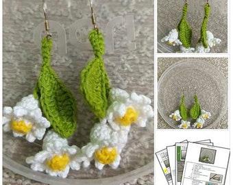 Crochet Pattern : Flower Lily Style earrings [PDF crochet pattern with Instant Download]