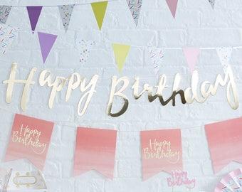 Gold Happy Birthday Banner, Gold Birthday Bunting, Gold Birthday Party Decorations, Script Bunting, Gold Garland