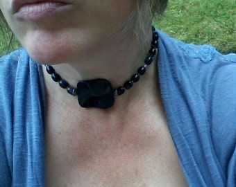 Purple Goldstone Choker Necklace with Bali Sterling Silver Fancy Toggle Boho Style