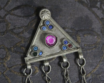 Tribal silver pendant w glass stones -- Afghan ethnic jewelry --  FREE SHIPPING SALE