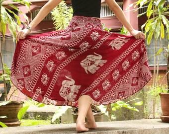 Red Skirt Thai Elephant Skirt Thai Harem Skirt Thai Hippie Skirt Thai Boho Skirt Thai Bohemian Skirt Thai Gypsy Skirt