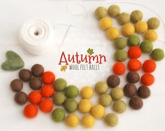 Autumn Bundle Felt Balls - Thanksgiving Felt Garland  - 2cm 100% Wool Felt Balls - 50 Wool Felt Balls - DIY Felt Ball Garland - Fall colors