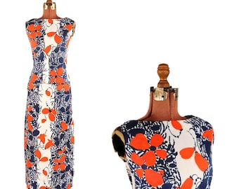 Vintage 1970's Red + Navy Blue Mod Abstract Floral Novelty Print Two Piece Maxi Dress Set S