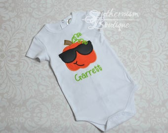 Boys Halloween Shirt, Boys Fall Shirt, Cool Pumpkin, Pumpkin with sunglasses, Personalized Fall, Personalized, Pumpkin, Sibling, babys first