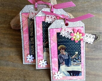 Handmade Vintage Gift Tags   Bookmarks   Nothing But Wine Tag   Set of 3