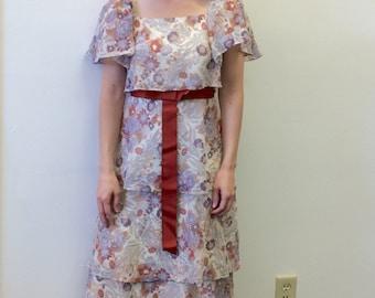 Tiered Maxi Dress Floral Print Flutter Vintage 70s Long XS