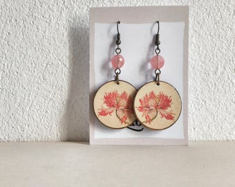 Pow! - Giuseppe Castiglione - Paper on Wood earrings - earrings with beads - flowers