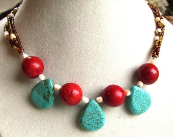 Sponge Coral and Turquoise Colored Magnesite Necklace with Seed and Shell Beads