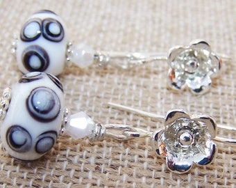 White lampworked earrings