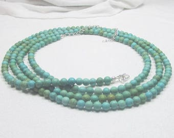 """Turquoise Necklace - Blue Green Necklace - NECKLACE IN PHOTO is 50"""" Long - Double Wrap - Single Wrap -"""