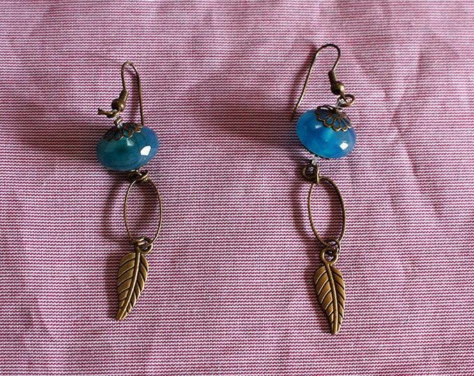 Blue Turquoise earrings, glass and brass