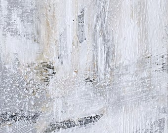 MISTY // Acrylic Painting, Abstract Painting, Action Painting, Fog, Grey Painting, White Painting, Abstract Expressionism
