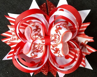 Candy Cane Cutie Stacked Boutique Christmas Bow