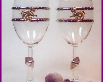 Dragon and Amethyst Crystal Chalice Single / Medieval Renaissance Fantasy Handfasting Wedding Toasting Wine Goblet / Wicca Pagan Ritual Cup