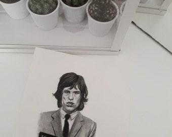 Original portrait drawing of mick jagger rolling stones rockstar mugshot 60s 70s art handmade artwork