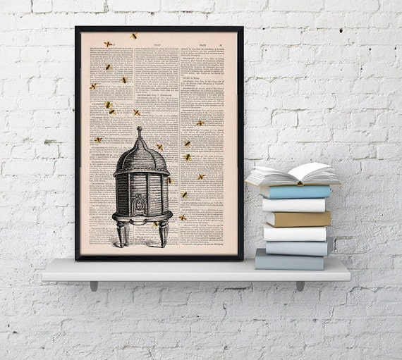 Poster print Bee hive Dictionary art Bumble bee Art Print Wall Art Decor-Bee hive- Wall hanging giclee print BFL029