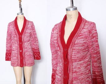 70s SPACE DYE Sweater Cranberry BELL Sleeve Cardigan Hippie Sweater Boho Cardigan