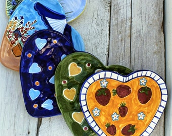 Mismatched Plates - Heart Shaped Plates-Hand Painted -  Wall Decor -  Dessert Plate