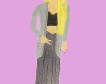 Harry Potter Luna Lovegood 90s fashion inspired colored pencil drawing