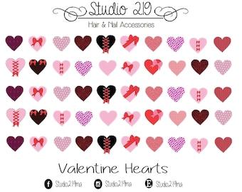 Valentine Hearts Waterslide Nail Decals